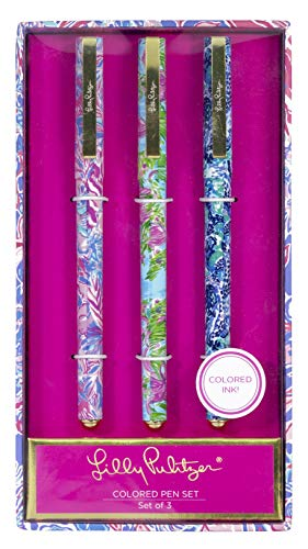 Lilly Pulitzer Colored Pen Set of 3, Includes Pink/Blue/Green Ink, Viva La Lilly (Assorted)