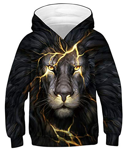 Goodstoworld 3D Lion Druck Hoodie Mädchen Jungs Kapuzenpullover Langarm Sweatshirt Pullover Bunte Kapuzenpullis Freizeitkleidung 12-13 Jahre
