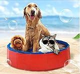Grandes Mascota Piscina Gatos Juego De Agua,Sobredimensionado Portatil Piscina para Perros,Home Use Folding Mascota Shower Pool,Plegable Bañera De Baño para Mascotas Rojo Diámetro60cm(24inch)