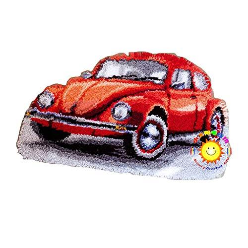 Kits De Ganchos Pestillo Bricolaje Manualidades Alfombras Coche Rojo Patrones Bricolaje Artesanías Costura Ganchillo Impresas con Patrón Preimpreso para Niños Y Adult(Size:52 * 32cm)