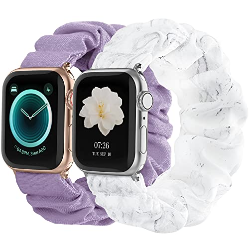 Compatible with Scrunchies Apple Watch Bands 38mm 40mm, Women Cloth Pattern Printed Fabric Wristbands Straps Elastic Scrunchy Band for iWatch Series 6 5 4 3 2 1 SE (Small White Marble, Lavender)