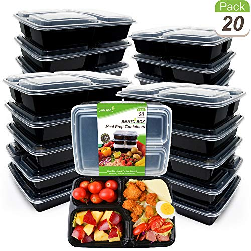 Upgraded [20 Pack] Reusable Meal Prep Containers 3 Compartment 34 Oz CooFood Thicker Lunch Bento Box 3 Compartments with Lids Anti-Spill Food Storage Container for Microwave Dishwasher Freezer