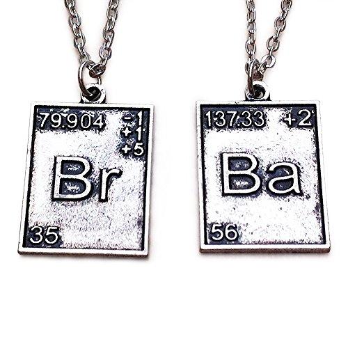 Orion Creations TV inspiriert BR BA. 2x Periodensystem Silber Ton Anhänger Halsketten