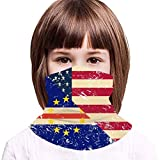 USA and Cape Verde Retro Flag2 Kids Neck Gaiter,Windproof Dustproof Face Scarf for Camping 13.8x7.9 in