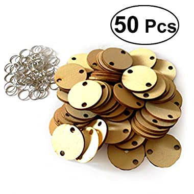 WINOMO 50pcs Round Wooden Slices With 50 Iron Loops Set For Birthday Reminder Hanging Wooden Plaque Board DIY Calendar Accessories Home Decoration (Burlywood)