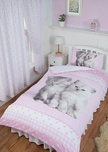 Single Bed Misty & Mac, Rachael Hale Duvet/Quilt Cover Bedding Set Fully Reversible, Cute Kitten Cats Polka Dot Gingham Ribbon Print Border, Pink White