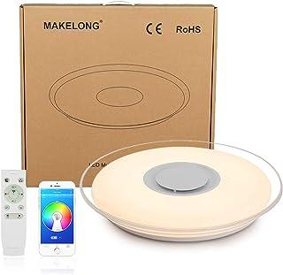 MAKELONG Iluminación de techo de interior, 52W 550mm 4300lm, Plafonnier Plafón LED Lámpara de Techo con Altavoz Bluetooth,...