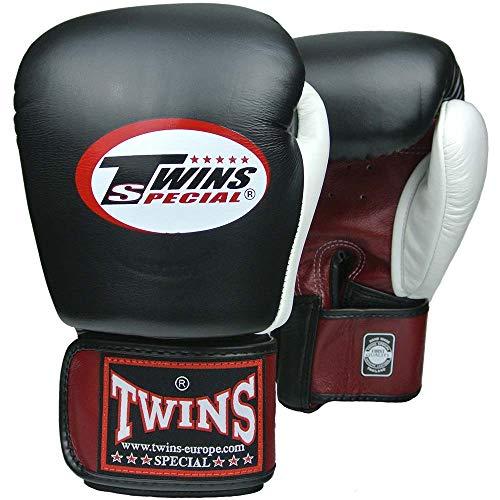 Twins Special Boxhandschuhe, Leder, BGVL-4, rot-schwarz-weiß Größe 10 Oz