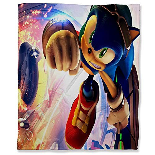 ARYAGO Super Soft Cozy Microfiber Couch Blanket 100 x 130 cm, Sonic The Hedgehog Bedroom Warm Blanket for Couch, Super Sonic