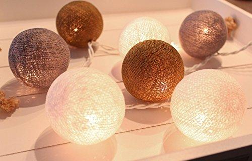 CREATIVECOTTON LED Lichterkette mit Cotton Balls inkl. Timer und Dimmer (Ambiance, 35 Kugeln)