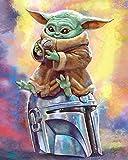 DIY Pintura digital - Mandalorian Baby Yoda-Canvas Pintura Acrílico Pintura Decoración de Pared del Hogar Kit Digital (45853, 16x20 sin Marco)