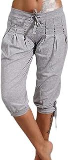 Women Lightweight Capri Pants Loose Solid High Waist Shorts