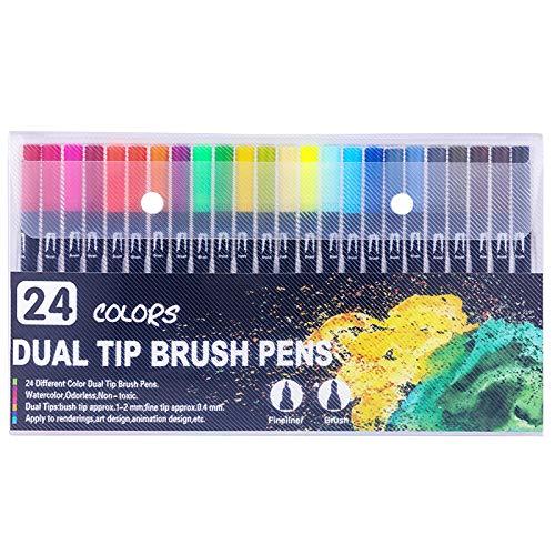 Artist Watercolor Real Brush Pens,Art Supplies 24Pcs Brush Marker Pens Colored Pens Script Paintbrush for Calligraphy B088WTGHYB