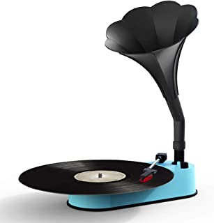 VMO Turntable Record Player with Horn Speaker for 33/45 RPM Records,Mini Gramophone Supporting Bluetooth Playback Blue