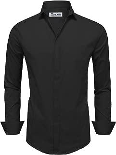 TAM WARE Mens Classic Long Sleeve Plain Dress Shirt