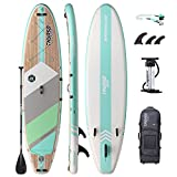 THURSO SURF Inflatable Stand Up Paddle Board All-Around SUP Waterwalker 126 10'6×31''×6'' Deluxe Package | Carbon Shaft Paddle | Roller Backpack | Dual Chamber Pump | Coiled Leash (Turquoise)