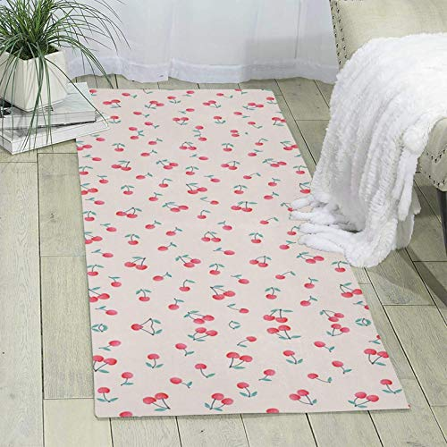 Lovely Sweet Red Cherry Single-Sided Printed Carpet, Ultra Soft Area Rug Non-Slip Rugs, for Bedroom/Living Room/Bathroom/Sofa /Porch/Kitchen, Easy to Clean