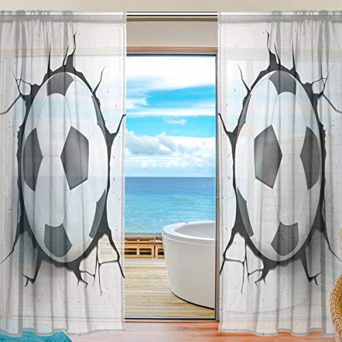 BIGJOKE Fenster-Vorhang, transparent, für Sport, Fußballball, Küche, Wohnzimmer, Schlafzimmer, Büro, Voile-Vorhang, 2 Stück, Textil, multi, 55x78 inches