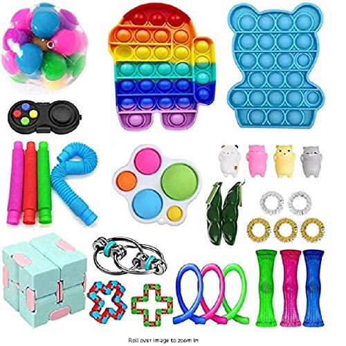 BoBoLily Más nuevo actualización sensorial Fidget juguetes conjunto,Sensorial Fidget Juguetes Set Aliviar el estrés Fidgets Toy Pack Serpiente Fidget Toy/