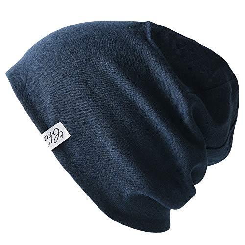 Casualbox Herren gemacht in Japan Bio Baumwolle Strick Mütze Beanie Hut Navy & Light Gray
