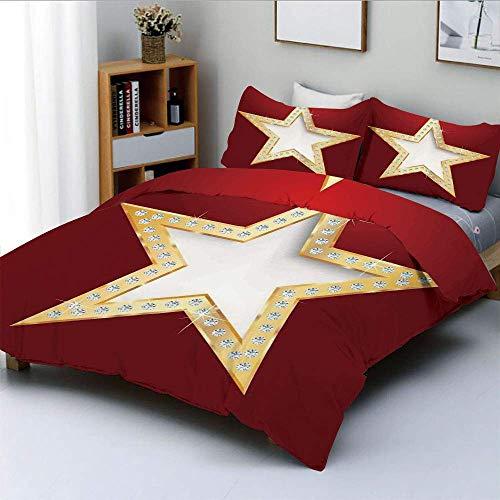 Set copripiumino, stella con cristallo argento Flash Diamonds Immagine Stampe digitali Home Art Set di biancheria da letto decorativo 3 pezzi con 2 fodere per cuscini, rosso dorato, miglior regalo per