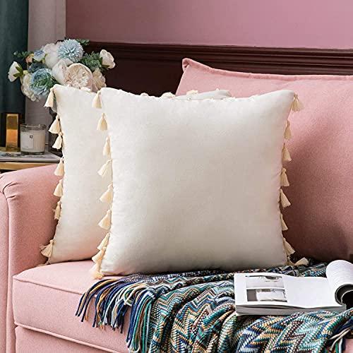 Aokali Juego de 2 fundas de cojín de terciopelo con borla y cremallera oculta, para sofá o dormitorio, 45 x 45 cm, color morado berenjena (crema y blanco, 45 x 45 cm)
