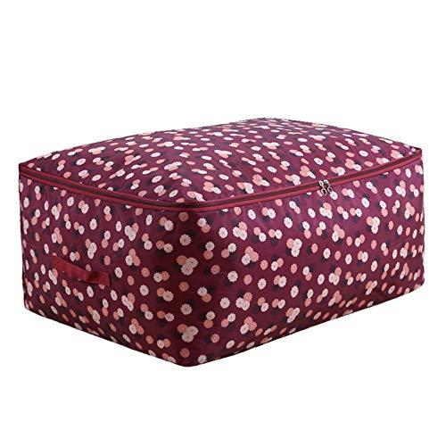 Gaorb040703 Oxford Closet Storage Bag Portable Clothes Storage Bag Blanket Quilt Bedding Container Box Moisture-proof Storage Bag (Color : Jiuhongyanzhihua, Size : M 55x35x20cm)