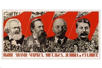 PROPAGANDA VINTAGE POSTER 1936 Marx Engels Lenin Stalin 24x36
