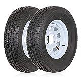 Ark Motoring Radial Trailer Tires w/White Rims ST225/75R15 LRD 6 Lug/5.5 Modular Rim, 10-Ply Load Range E, Set of 2