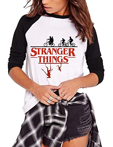 Camiseta Stranger Things Niña, Stranger Things Camisetas de Manga Larga Adolescente Chicas T-Shirt Impresión de Cartas Camisa de Otoño e Invierno Manga Larga Estampado Camiseta (C9,S)