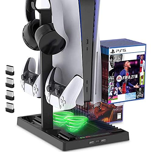 LVHI PS5 Playstation 5 Multifunktions-ladeständer Host-kühlregal Game Controller-ladegerät Für Playstation 5 Gamepad Cradle Holder