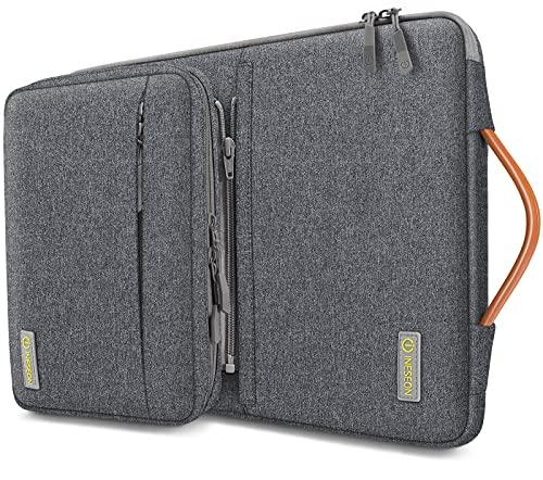iNeseon 360° Schutz Laptoptashce Hülle für 13 Zoll MacBook Air/Pro(M1), 13,3 Zoll ASUS Dell HP Huawei CHUWI Ultrabook Notebook Tasche Schutzhülle mit Abnehmbarer Zubehörtasche, Dunkelgrau