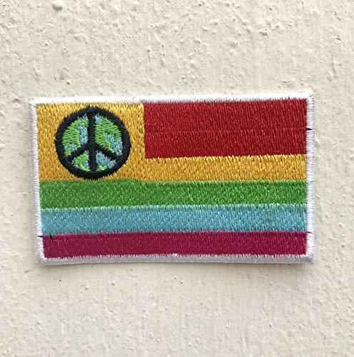 Kleurrijke Vlag met Vrede Logo IJzer op Naai op Geborduurde Patch