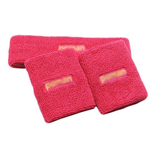 Mode Stretchy Coton Sport Bandeau Bandeau avec Poignets (Rose-rouge)