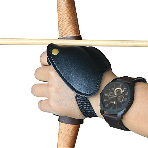 I-Sport Leather Archery Hand Guard Glove Protector Left Hand for Traditional Recurve Bow Longbow Hunting