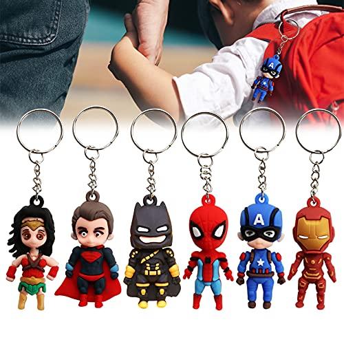 Gxhong Superhéroe Colgante de Llavero The Avengers Llavero, Spiderman, Batman, Superman, Iron Man, Mujer Maravilla, Capitán América Keychain, 3D Llavero de Personaje de Dibujos Animados, 6 Piezas