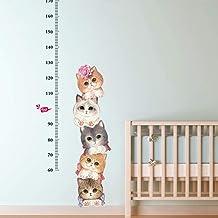 ملصق حائط لقياس ارتفاع القطط لغرف الأطفال مقياس نمو الأطفال مخطط النمو لغرفة الأطفال ملصقات ديكور حائط