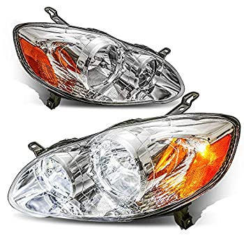 MOSTPLUS Headlight Assembly Compatible with 2003 2004 2005 2006 2007 2008 Toyota Corolla -Chrome Housing with Amber Reflector Front Lamp  Set of 2
