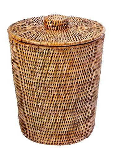 KOUBOO 1030073 La Jolla Rattan Round Waste Basket with Plastic Insert Lid 95 x 95 x 125 Honey Brown