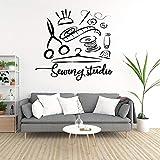 JFZJFZPegatina de pared de estudio de costura Atelier decoración del hogar calcomanías de vinilo para pared decoración de ventana hecha a mano pegatinas extraíbles 58x57cm