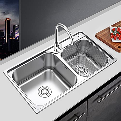 YSXFS Double Bowl Kitchen Sink With Drainboard,Top-mount/Drop-in Farmhouse Sink,Stainless Steel Faucet 30 * 17 Inch Prep Kitchen Sink(Size:78 * 43cm,Color:Silver)