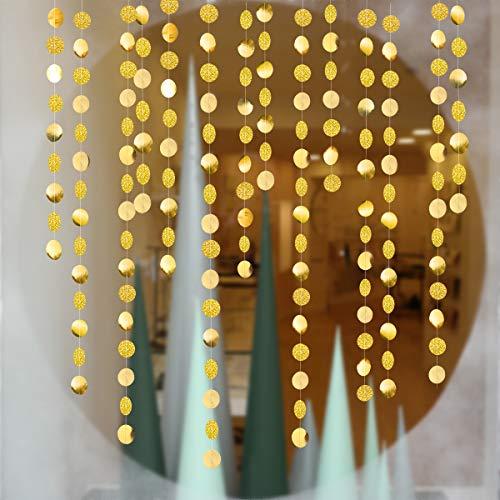 Círculo dorado fiesta decoración papel cilíndrico cinta de colores decorativa Fondo bandera cumpleaños ducha infantil graduación Navidad jardín barbacoa