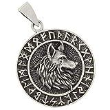 Lobo con runas colgante de plata 925