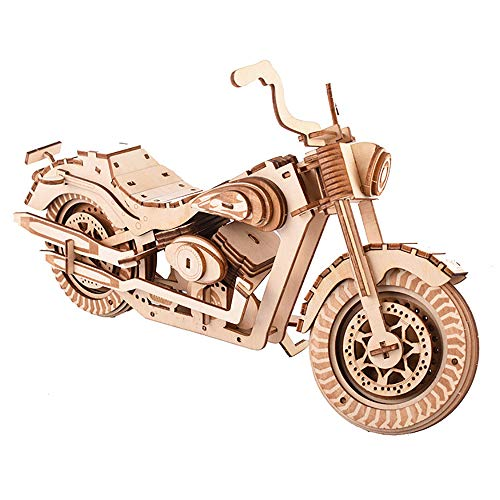 LODIY 3D Wooden Puzzle - 158 Pcs Motorcycle Self-Assembly Craft Building Kit - 3D Jigsaw Puzzle Gift for Adults and Kids