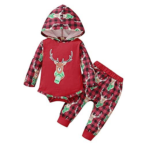 Kleinkind Baby Mädchen Hoodie Kleidungset Langarm Weihnachten Herbst Winter Langarmshirts T-Shirt Sweatshirt Pullover Tops + Hosen Sporthosen Trainingsanzug Outfits Sweatsuit Sets (Rot, 3-6 Months)