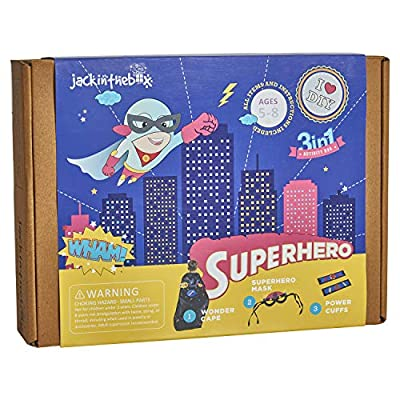 jackinthebox Superhero DIY Dress up Art and Craft Kit | Make a Cape, Mask and Cuffs | Best Gift for Boys Ages 5 6 7 8 Years | 3 Craft Projects in 1 Box