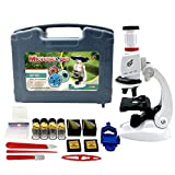 Sania Store Microscope for Kids – 100X – 1200X, Young Scientist Microscope Set, Beginner STEM Kit | Specimen Slides, Carrying Box, LED Light, an Education Science Experiment Kit for Ages 8+