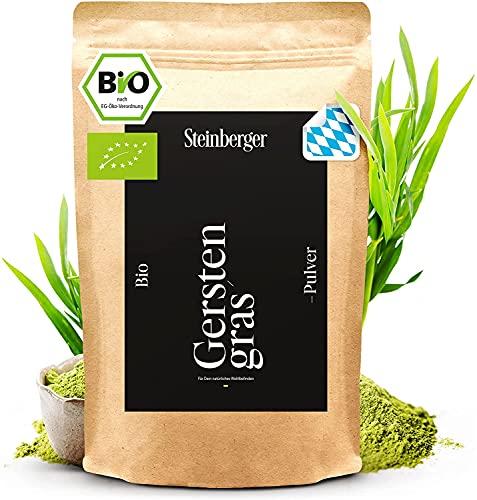 Bio Gerstengras Pulver 1000g biozertifiziert aus Bayern | 100{ac8b38b66fdb6e04c17891a865edec30e7400095c41f647c2529fab85287c061} naturrein und frisch | Im wiederverschließbaren Standbeutel | Ideal für Smoothies