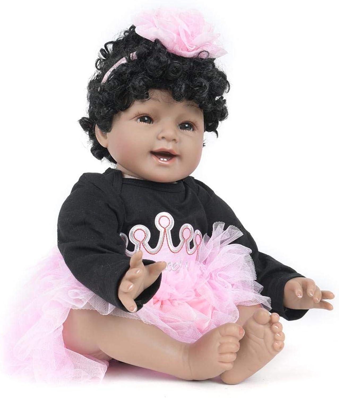 PrettyH 55cm rebirth doll simulation doll simulation baby silicone gum curly hair doll cloth can not accompany the baby to take a bath