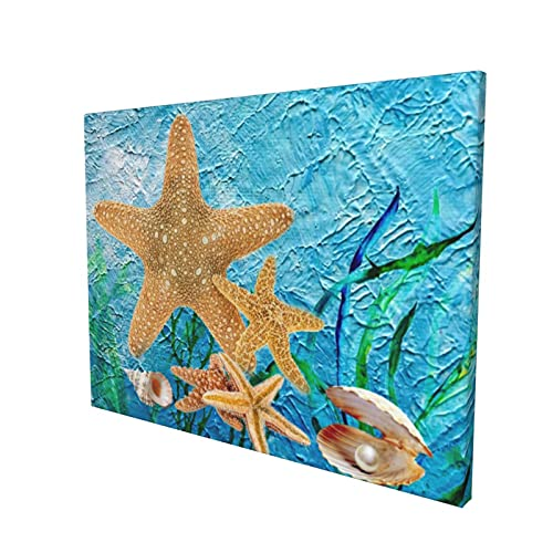 Starfish and shell Canvas Wall Art for Living Room Bedroom Bathroom Office Bar Decor Framed Ready to Hang 12*16 inch